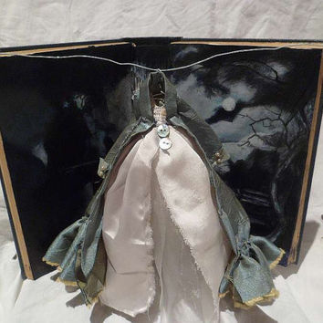 Assemblage Art Dress Made From Paper and Fabric -  Northanger Abbey - Jane Austen.