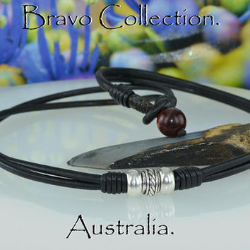 N-011 Finely Made Sterling Silver,Red Tigers Eye Leather Choker Men Necklace.