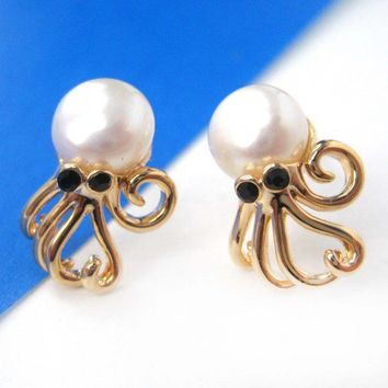 Small Octopus Squid Pearl Stud Earrings in Gold with Rhinestone Eyes