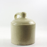 Antique Stoneware Jug, Small White Pottery Jug, Rustic Kitchen, Primitive Decor