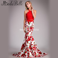 Fashion Rose Floral Print Prom Dress 2016 Sexy Halter Applique Lace Prom Mermaid Dresses Two Piece Gown Graduation Floor Length