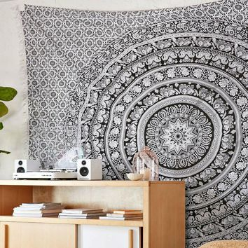 Day-First™ Magical Thinking Boho Black White Elephant Tapestry