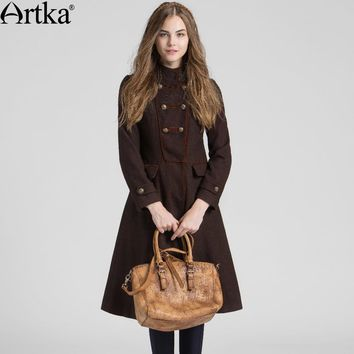 Artka Wool Coat Women's Winter Jackets 2017 Double Breasted Ladies Overcoat Autumn Women's Jacket Knight Vintage Coat FA12061Q