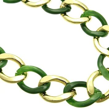 Green Lucite And Metal Chunky Link Necklace