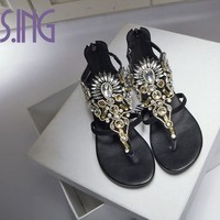Hot women shoes fashion Sheepskin Gladiator shoes Rhinestone Retro style women sandals Crystal flat women beach summer shoes