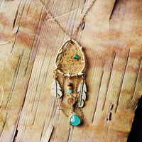 Couture Gold Birds Nest Dreamcatcher Necklace Dream Catcher One of a Kind