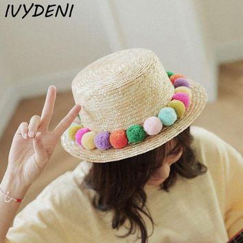 Youth Hipster Summer Colorful Tassel Sun Hats Ladies Raffia Beach Straw Hat For Women's Sunhat Panama Derby Hat Girls Floppy Hat