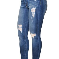 Denim Destroyed Skinny Jeans