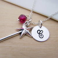Magic Wand Charm Swarovski Birthstone Initial Personalized Sterling Silver Necklace / Gift for Her