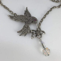 Humming Bird Necklace, Crystal Bead, Flower, Marcisate, Reclaimed Vintage Jewelry, Avon, OOAK