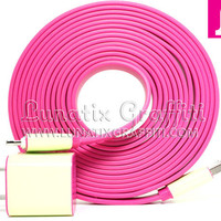 iPhone 5 Charger XXL - 10 ft Long Flat Noodle iPhone 5 Charger (Hot Pink)