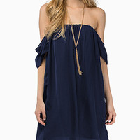 Navy Blue Off- Shoulder Chiffon Dress