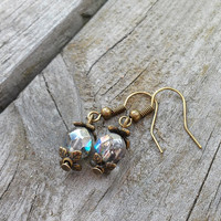 Silver Rainbow Earrings, Czech Glass Jewellery, Vintage Style Earrings, Antique Bronze Jewellery