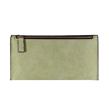 Fashion Ladies Wallet Billfold Real Leather Zipper Long One Compartment Purse