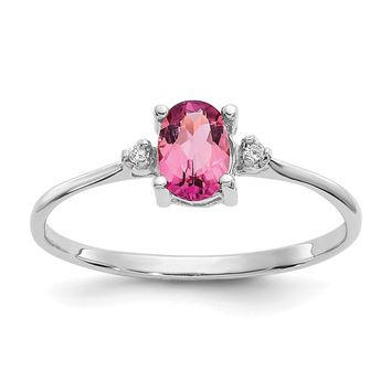 14k or 10k White Gold Diamond & Pink Tourmaline October Birthstone Ring