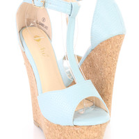 Blue Woven Textured T Strap Cork Wedges Faux Leather