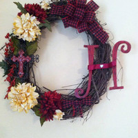 Oval Grapevine Wreath with Cross and Monogram Letter and Ribbon #Oval wreath #Grapevine wreath #Houndstooth, #Cross #Monogram