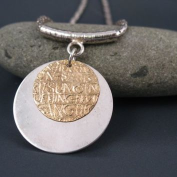 Disc necklace, silver and gold necklace, handmade jewelry