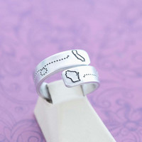 Long Distance Friendship - Long Distance Relationship - Adjustable Wrap Ring - Hand Stamped Jewelry - Engraved Jewelry - Custom Engraving