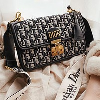 Dior Oblique Women Senior Canvas Retro Shoulder Bag Crossbody Satchel