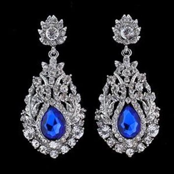 Sapphire Blue Big Teardrop Crystal Bridal Long Earrings
