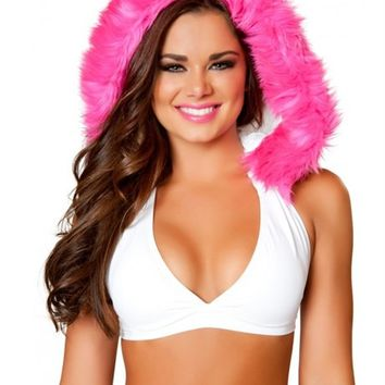 White and Pink Hooded Halter Top : Cute Rave Hoodie Tops for Outfits
