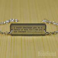 battle of wits Shakespeare acrylic engraved bracelet by BookFiend