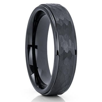 Black Tungsten Wedding Band - 6mm - Black Tungsten Ring - Hammered Ring