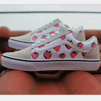 Vans Old Skool Leisure canvas shoes strawberry print H-CSXY
