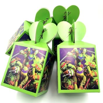 6pcs/set  Ninja Turtles Candy Box Baby Shower Party Decoration Ninja Gift Boxes Birthday Party Supplies Ninja Turtles Candy Box