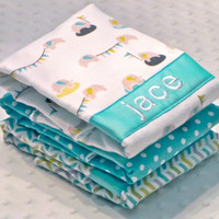 Personalized Burp Cloth Set - Set of 3 Personalized Baby Burp Cloths Aqua Blue Light Gray Lime Green Elephants Polka Dots Chevron