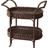 Fiji Transitional Oval Serving Cart Medium Brown