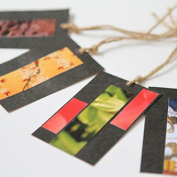 Gift Tags Set with Upcycled Kraft Paper, Photographs and Natural Jute Twine