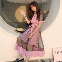 Harajuku Mesh Patchwork Bandage Dress