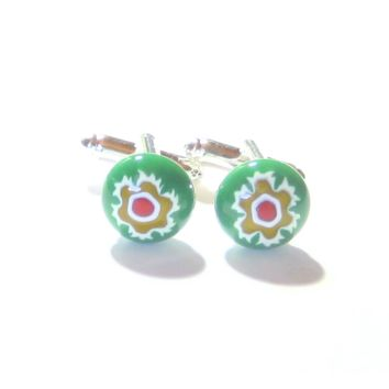 Colorful Green Murano Glass Millefiori Cuff Links, Italian Glass Jewelry