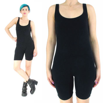 80s 90s Black Cotton Unitard Spandex Wrestler Romper Stretch Cotton Spandex Club Kid Jumpsuit Workout Leotard Goth Gym Bodycon Onesuit (XS/S)