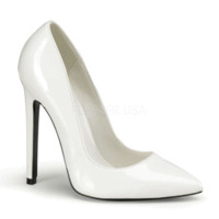 "SEXY-20, 5"" Stiletto Heel Pointy Toe Pump in White Patent"