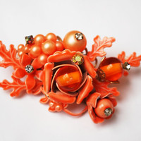 "Orange Flower Brooch - Haskell ""esque"" - wired glass beads and rhinestones - Enamel and Pearls -Floral Bead"