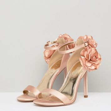 ASOS DESIGN Holden Wide Fit Corsage Heeled Sandals at asos.com