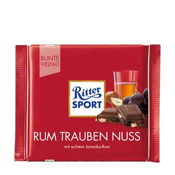 Ritter Sport Rum Raisin and Hazelnut Milk Chocolate, 3.5 oz (100 g)