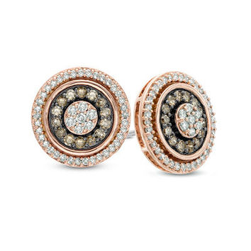 1/2 CT. T.W. Champagne and White Diamond Double Frame Cluster Stud Earrings in 10K Rose Gold - View All Earrings - Zales
