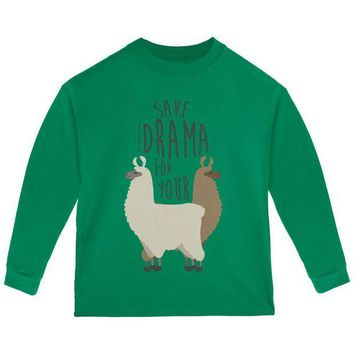 DCCKJY1 Save the Drama for Your Llama Pun Toddler Long Sleeve T Shirt