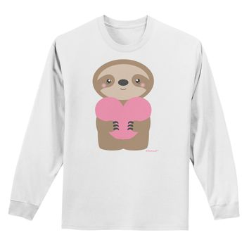 Cute Valentine Sloth Holding Heart Adult Long Sleeve Shirt by TooLoud