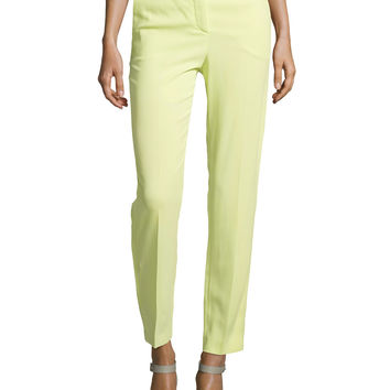Straight-Leg Mid-Rise Trousers, Natural, Size: