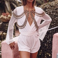 Buy Mesh Playsuit - White Online by SABO SKIRT