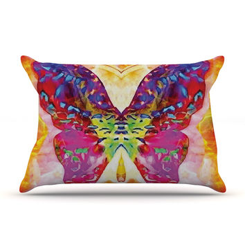 "Anne LaBrie ""Butterfly Spirit"" Pink Yellow Pillow Case"
