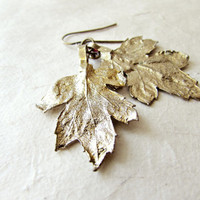 Gold Leaf Earrings| Shimmering Gold Finished Natural Chrysanthemum Leaves| Rustic Bridal Jewelry Ethereal Wedding Earrings| Organic Jewelry|