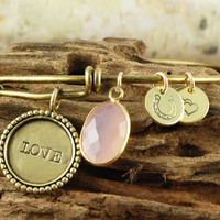 Love - Brass Bangle Charm Bracelet - Alex and Ani Inspired