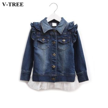 Trendy Girls Denim Jacket Spring Autumn Lace Coats For Teenagers Girl Ruffle Outerwear Children's School Wear AT_94_13