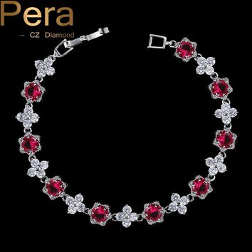 Pera Luxury 925 Sterling Silver Cluster Flower Shape Red And White Cubic Zirconia Bracelets Stone Party Jewelry For Women B018